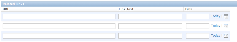 Screenshot of 'related links' in the Ellington admin, looking like any other inline-edited model