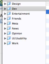 Screenshot of my subscription list in NetNewsWire Lite, showing nine folders of feeds